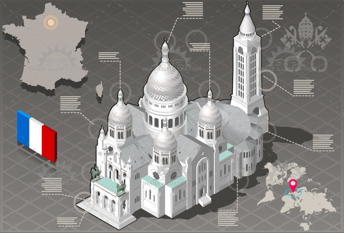 architecture, attraction, basilica, building, capital, cathedral, catholic, church, city, coeur, europe, european, france, french, gothic, honeymoon, illustration, infographic, isolated, isometric, landmark, medieval, monmartre, Monument, paris, sacre, touristic, travel, vacation, vector
