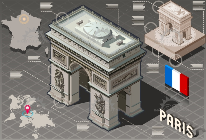 arc, arch, architecture, background, capital, champs, city, de, elysees, europe, famous, france, french, holiday, honeymoon, illustration, infographic, isolated, isometric, landmark, Monument, panorama, paris, romantic, tourism, travel, triomphe, triumph, vacation, vector