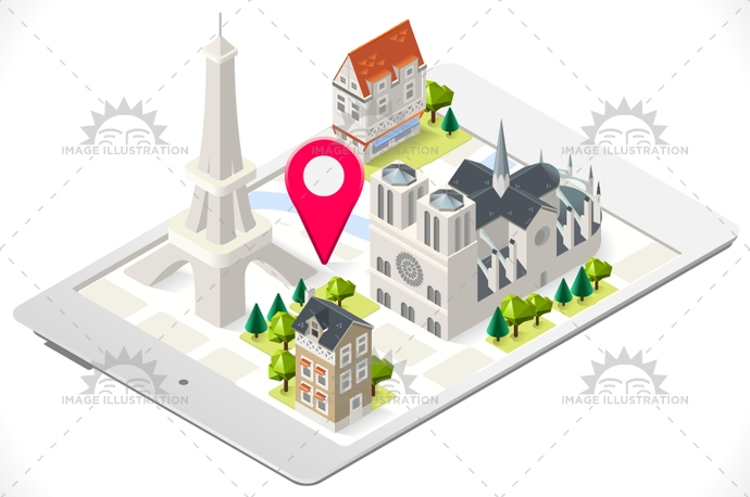 3d, app, attraction, background, buildings, cartoon, dame, eiffel, france, french, historic, holiday, illustration, isometric, love, lowpoly, map, Monument, notre, paris, stylish, tablet, template, tour, tourism, tower, town, travel, vector, web