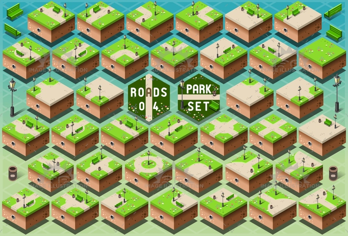 3d, alley, background, bench, can, city, footpath, garden, grass, green, icon, illustration, isometric, lamp post, landscape, map, nature, park, path, pattern, puzzle, road, scene, spring, town, trash, urban, vector, walk, way