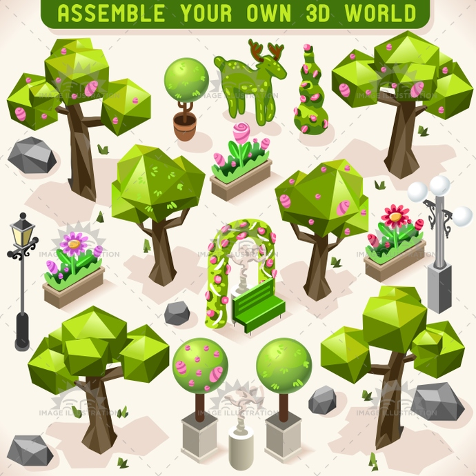 3d, app, area, building, city, decoration, evergreen, fir, garden, hedge, illustration, infographic, isometric, lowpoly, ornament, park, pine, pruner, public, set, small, spruce, stylish, template, tint, town, traffic, tree, vector, web