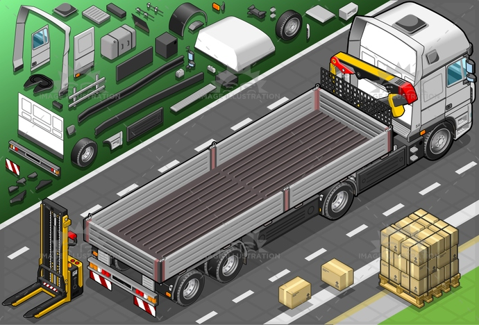 box, cargo, CommercialLandVehicle, container, Convoy, Delivering, delivery, deposit, elevator, forklift, freightliner, FreightTransportation, industry, isolated, isometric, landvehicle, outline, pack, pallet, SemiTruck, Sending, store, trailer, transportation, truck, truckload, vehicle