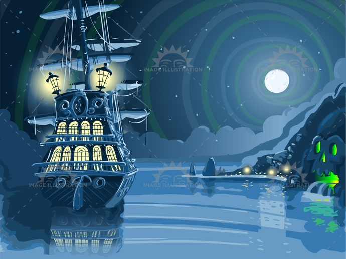 adventure, antique, background, boat, buccaneer, caribbean, faery, galleon island, harbor, illustration, moon, mystery, night, nocturnal, ocean, old, pirate, rock, sail, sea, ship, skull, treasure, vector, vessel, vintage, water