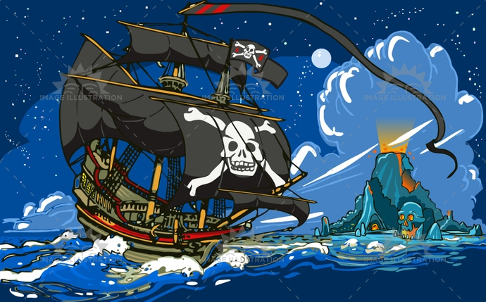 adventure, background, bay, buccaneer, caribbean, child, cove, fantasy, fear, gadget, galleon, game, illustration, island, jolly roger, murals, neverland, night, pirate, placeholder, ship, skull, tale, time, treasure, vector, volcano, waterfall, wild