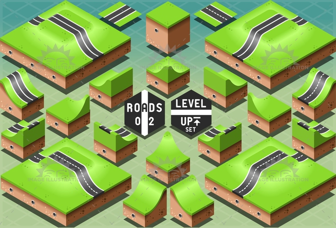 3d, avenue, background, city, climb, descent, design, downhill, downtown, drawing, element, graphic, green, highway, icon, information, isometric, level, map, path, pattern, puzzle, road, route, slope, street, town, travel, urban, view