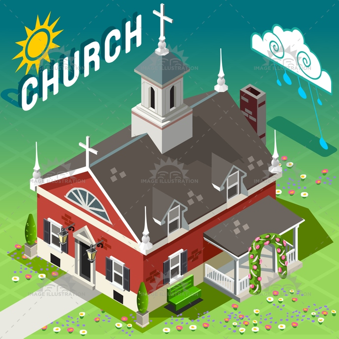Rural Church Building Isometric