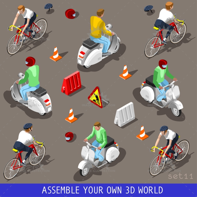 3d, bicycle, build, cargo, carrier, collection, driver, driving, flat, icon, illustration, industry, infographic, isolated, isometric, isometry, motor, objects, piaggio, scooter, set, template, tile, traffic, transport, vector, vehicle, vespa, web, wheel