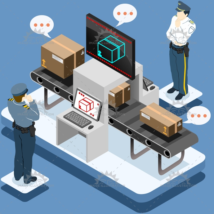 airport, baggage, business, character, check, concept, control, customs, delivery, departure, flat, goods, illustration, infographic, internet, iot, isolated, isometric, luggage, man, people, police, screener, security, set, thinks, transit, travel, vector, zone