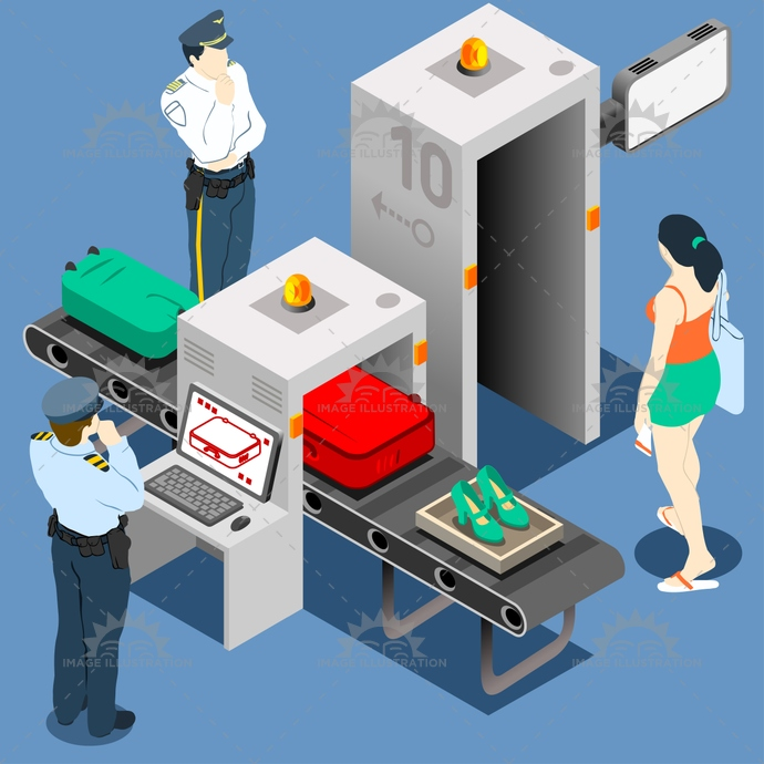 airport, anti, baggage, belt, body, checkpoint, conveyor, departures, detector, gate, illustration, infographic, isometric, journey, luggage, machine, metal, monitor, people, police, safety, scanner, screening, security, systems, terrorism, tourist, travel, vector, x ray