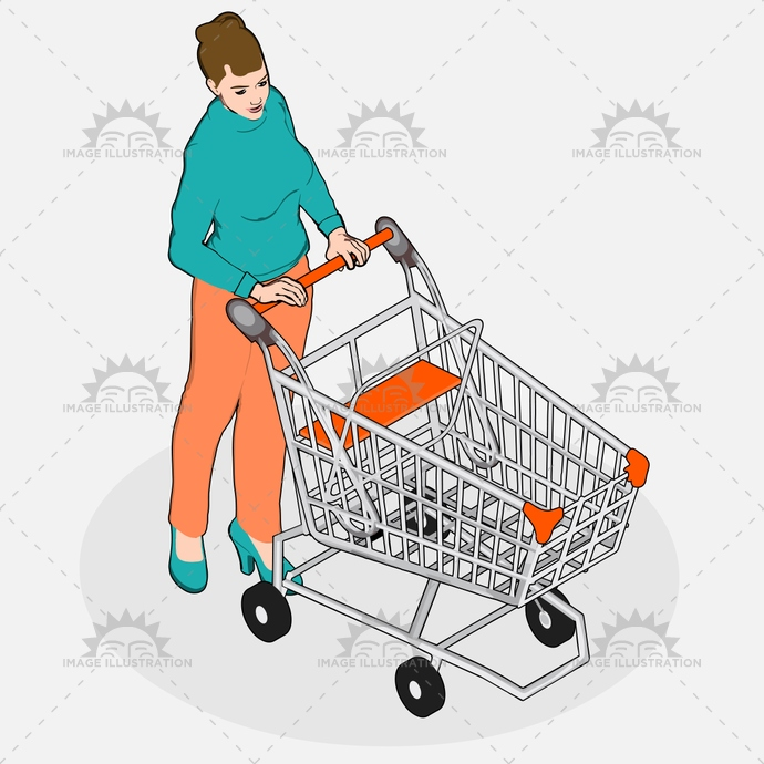 advertising, business, buying, cart, consumer, customer, discount, empty, family, girl, grocery, housewife, isometric, looking, market, mom, people, product, purchase, quality, research, retail, sale, senior, shop, store, supermarket, vector, vintage, walking