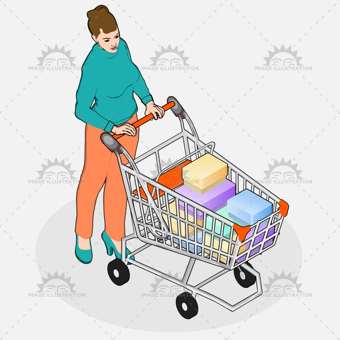 advertising, business, buying, cart, collecting, consumer, customer, discount, family, girl, grocery, housewife, isometric, looking, market, mom, people, product, purchase, quality, research, retail, sale, senior, shop, store, supermarket, vector, vintage, walking