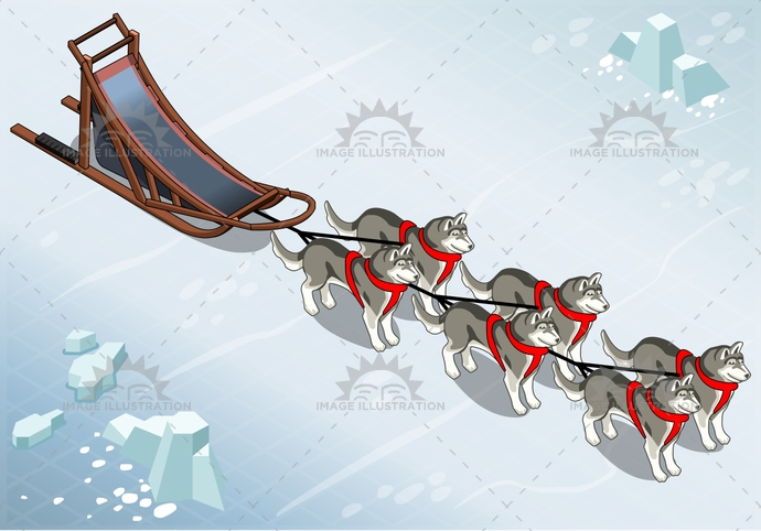 Sled Dogs 01 Vehicle Isometric