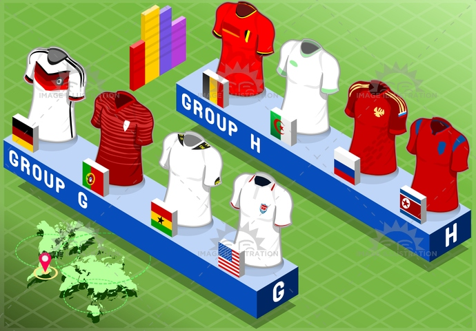 algeria, apparel, background, belgium, blank, brazil, championship, collection, competition, cup, field, football, game, germany, ghana, group, isolated, isometric, korearepublic, portugal, russia, shirt, short, soccer, sport, t-shirt, tshirt, uniform, usa, world