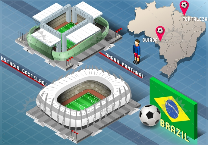 america, arena, background, ball, blue, brasil, brazil, castelao, championship, Cuiaba, flag, football, Fortaleza, green, icons, infographic, isolated, isometric, map, national, pantanai, player, rio, soccer, south, stadium, tourism, world, yellow