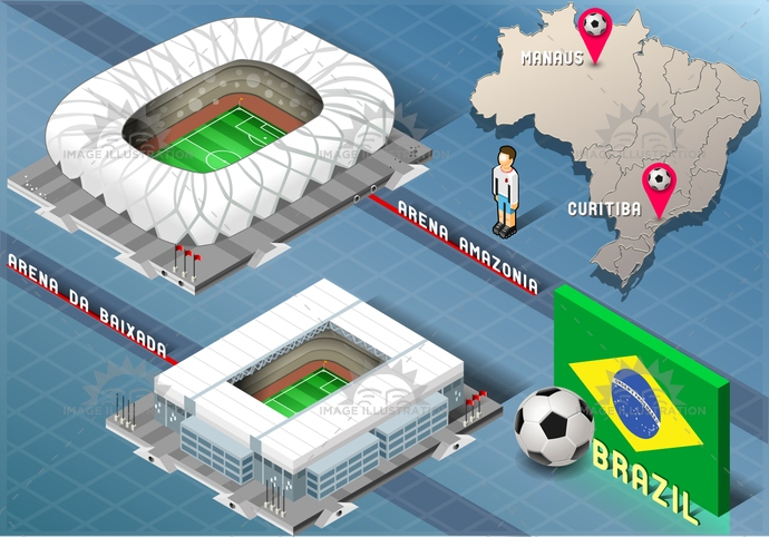 amazonia, america, arena, background, baixada, ball, blue, brasil, brazil, championship, curitiba, flag, football, green, icons, infographic, isolated, isometric, manaus, map, national, player, rio, soccer, south, stadium, tourism, world, yellow