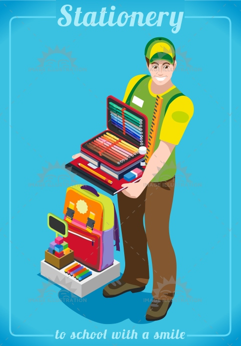 3d, advertising, app, back, backpack, banner, bargain, basic, bright, business, career, chancellery, collection, college, design, education, elements, enjoyment, exercise, flat, happy, illustration, isometric, Job, junior, man, monger, multicolor, outlet, palette, pencil, people, private, profession, sale, school, seller, set, shop, smile, stationer, stylish, tablet, template, variety, vector, vendor, vivid, web