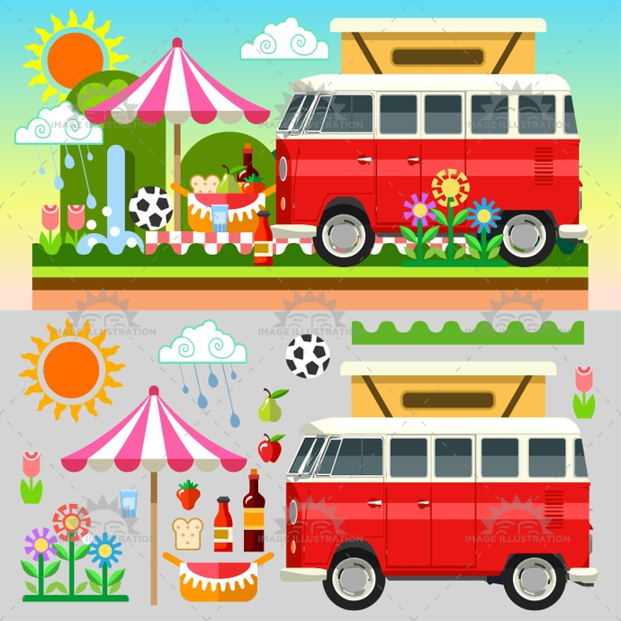 app, ball, basket, beach, camping, cloudless, colorful, easter, equipment, excursion, flower, food, holiday, illustration, isometric, outdoors, picnic, rain, spring, stylish, summer, sun, template, time, trip, umbrella, van, vector, vehicle, web