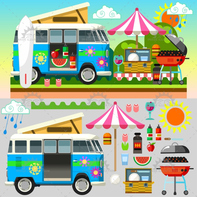 app, basket, beach, camping, cloudless, colorful, easter, equipment, excursion, flower, food, hamburger, holiday, illustration, isometric, outdoors, picnic, rain, spring, stylish, summer, sun, template, time, trip, umbrella, van, vector, vehicle, web