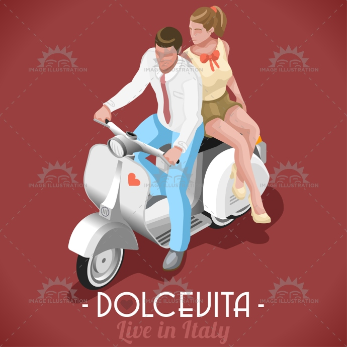 3d, 50, 60, app, audrey, betrothed, boyfriend, couple, dolce, engaged, fellini, flat, game, happyness, holiday, illustration, isometric, italian, life, love, marcello, movie, roman, scooter, sweet, template, vector, vintage, vita, web