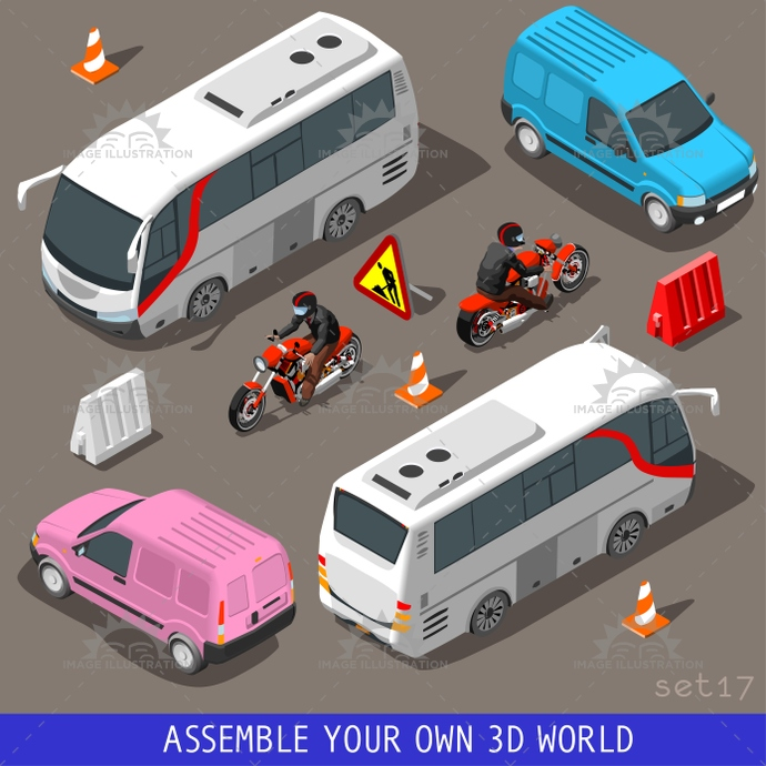3d, build, bus, cargo, coach, collection, flat, holiday, icon, illustration, industry, infographic, isolated, isometric, isometry, motor, motorbiker, objects, pink, set, template, tourism, tourist, traffic, transport, van, vector, vehicle, web, wheel