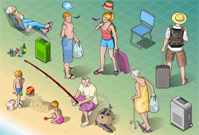 adventure, baby, beach, cartoon, child, couple, family, fishing, grandpa, happy, holiday, honeymoon, isolated, isometric, luggage, man, people, relaxation, resort, senior, suitcase, together, tourist, travel, trip, vacation, walking, woman, young