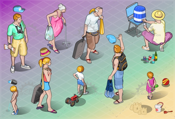 adventure, baby, beach, cartoon, child, couple, drink, family, grandpa, happy, holiday, honeymoon, isolated, isometric, luggage, man, people, relaxation, resort, senior, suitcase, together, tourist, travel, trip, vacation, walking, woman, young