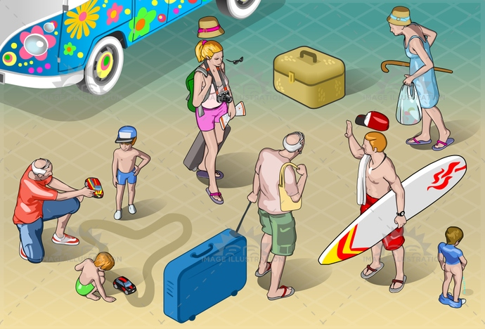 adventure, baby, beach, cartoon, child, couple, family, grandpa, holiday, honeymoon, isolated, isometric, luggage, man, people, play, relaxation, resort, senior, suitcase, surfer, together, tourist, travel, trip, vacation, walking, woman, young