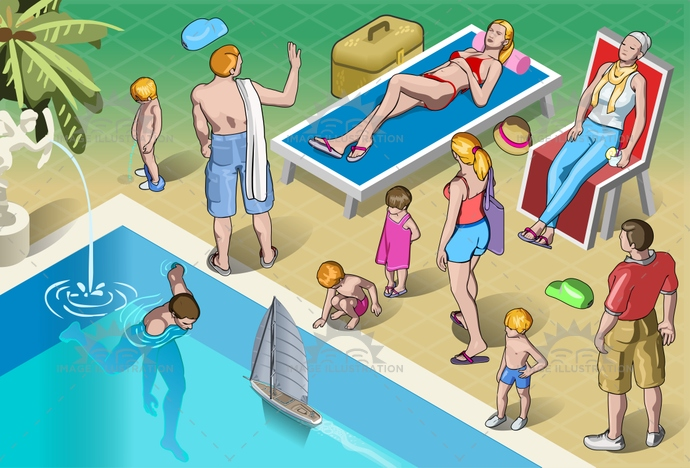 adventure, baby, cartoon, child, family, grandpa, holiday, honeymoon, isolated, isometric, luggage, man, people, play, pool, relaxation, resort, senior, suitcase, sunbathe, swim, together, tourist, travel, trip, vacation, walking, woman, young
