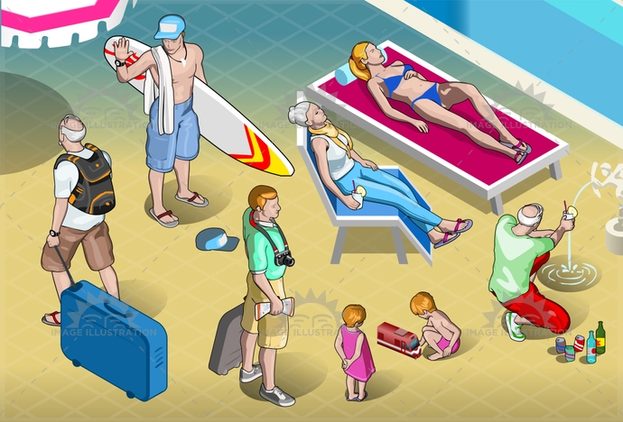 adventure, baby, cartoon, child, family, grandpa, holiday, honeymoon, isolated, isometric, luggage, man, people, play, pool, relaxation, resort, senior, suitcase, sunbathe, surfer, together, tourist, travel, trip, vacation, walking, woman, young
