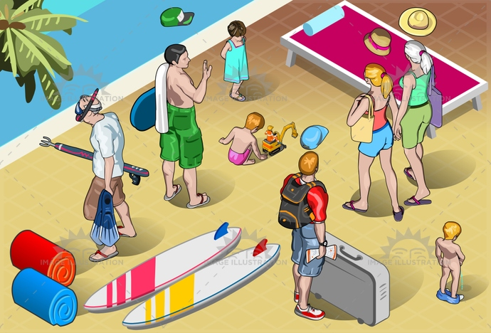 adventure, baby, cartoon, child, family, grandpa, holiday, honeymoon, isolated, isometric, luggage, man, people, play, pool, relaxation, resort, senior, sub, suitcase, surfer, together, tourist, travel, trip, vacation, walking, woman, young