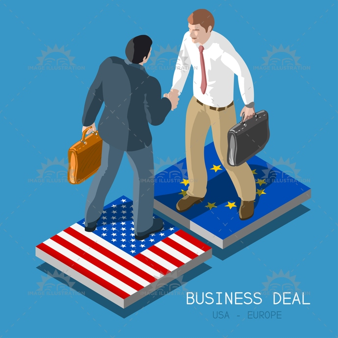 3d, agreement, app, background, businessman, europe, flag, flat, haggle, handshake, illustration, infographic, investment, isometric, men, men at work, negotiations, partnership, people, plan, stylish, template, tile, trade, transatlantic, ttip, united states, usa, vector, web