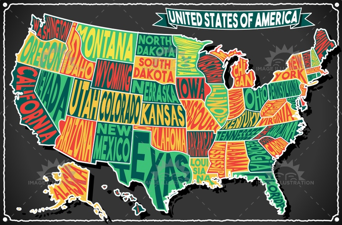 alabama, america, antique, background, banner, blackboard, border, california, carolina, chalk, decoration, florida, freehand, geography, georgia, handwriting, illustration, map, mexico, retro, scroll, states, texas, typography, united, usa, vector, vintage, virginia