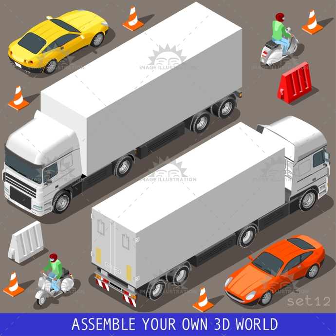 3d, articulated, car, cargo, carrier, collection, coupe, flat, icon, illustration, industry, infographic, isolated, isometric, lorry, motor, objects, piaggio, scooter, set, sport, template, traffic, transport, truck, vector, vehicle, vespa, web, wheel
