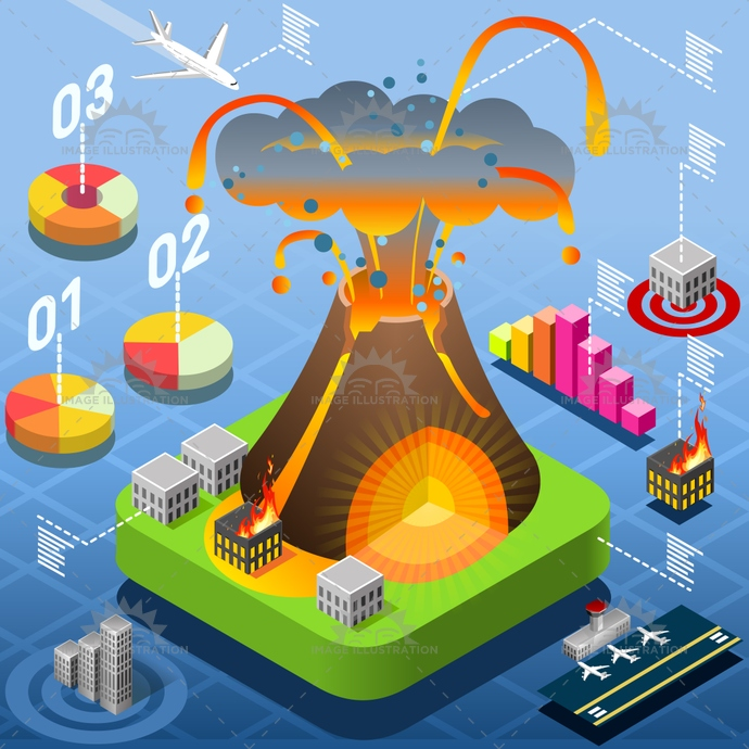 airport, ash, building, caribbean, chamber, chart, city, crust, damage, disaster, Earth, earthquake, eruption, fault, fire, geologic, histogram, illustration, infographic, isometric, lava, magma, natural, pie, plates, risk, tectonic, tile, vector, volcano