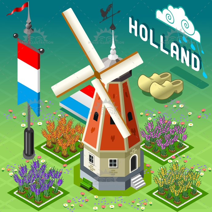 barn, building, cattle, clogs, countryside, dutch, farm, flag, grain, great, hayloft, historic, holland, illustration, isometric, landmark, liberty, old, ranch, red, rural, set, sheaf, silos, storage, tile, vector, weather vane, windmill, wood