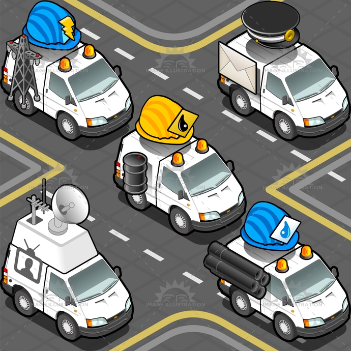 aid, bin, cameraman, cap, delivery, drop, electrician, Electricity, emergency, Headlight, helmet, hydraulic, isolated, isometric, oil, oilman, parabola, postal, postman, rescue, service, siren, television, truck, tube, van, videogame, water, worker