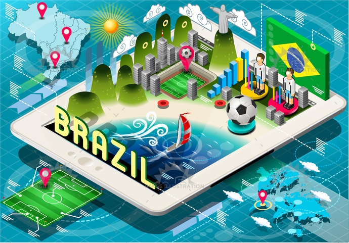 america, background, ball, blue, brasil, brazil, championship, Christ, de, flag, football, green, icons, infographic, isolated, isometric, janeiro, map, mobile, national, player, rio, soccer, south, stadium, tablet, tourism, world, yellow