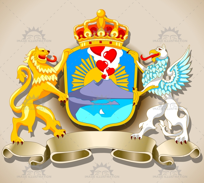 arms, background, banner, bay, black, coat, crown, dragon, english, engraving, eruption, frame, griffin, heart, heraldic, heraldry, illustration, kingdom, lion, naples, old, ornament, ornate, sun, vintage, volcano
