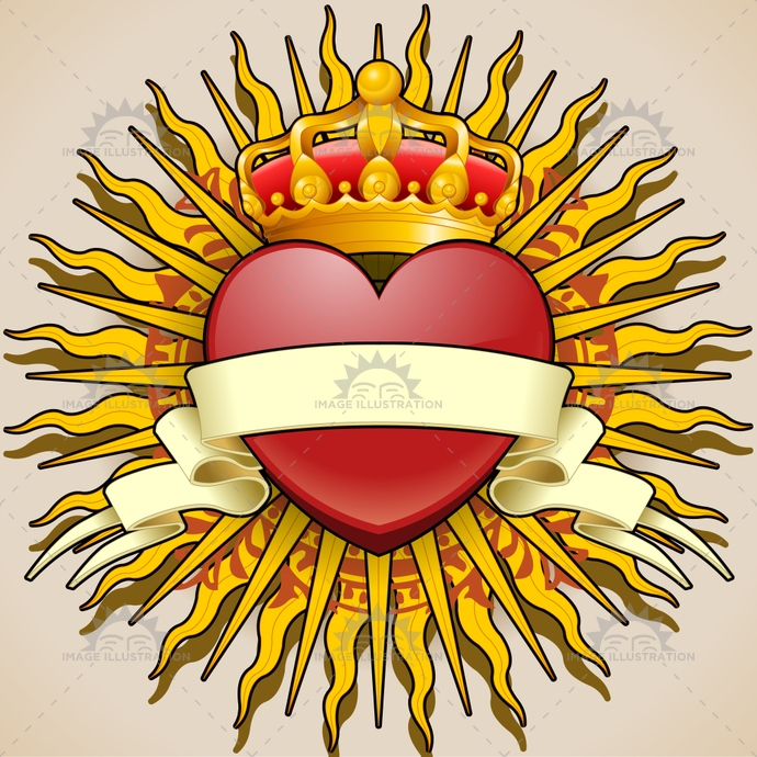 abstract, background, banner, blazon, cartoon, coatofarms, color, crown, design, drawn, fun, graphic, happy, heart, heraldry, icon, illustration, isolated, logo, love, orange, rays, shine, sun, sunshine, valentine, vintage, white, yellow