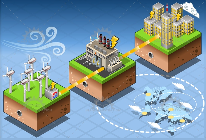 alternative, city, clean, Diagram, ecology, Electricity, environment, environmental, farm, Generator, green, harvesting, house, illustration, infographic energy, isometric, plant, Power Station, renewable, seascape, set, Source, technology, tower, turbine, vector, wind, windmill