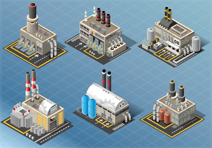 asphalt, background, building, business, chimney, conditioner, electric, electrical, Electricity, energy, environment, factory, generation, Generator, green, illustration, industrial, industry, isometric, modern, oil, outdoor, pipe, plant, power, steel, technology, tower, turbine, vector