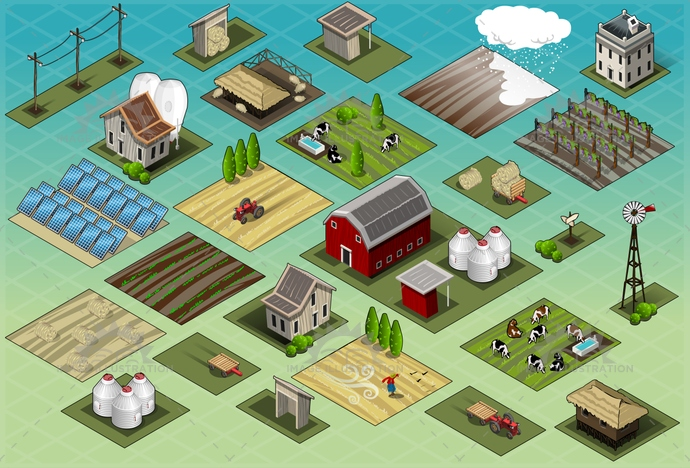 agriculture, barn, building, cartoon, country, countryside, cow, farm, field, green, illustration, isometric, nature, panel, pig, ranch, rural, rustic, scarecrow, seasons, set, silos, solar, storage, tractor, vector, village, vineyard, windmill, wood