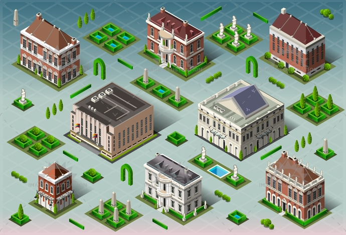 america, american, arch, architecture, background, building, business, city, civil war, collection, colonial, construction, cottage, estate, fence, foliage, garden, historic, home, house, icon, illustration, isometric, luxury, street, swimming pool, theater, town, vector
