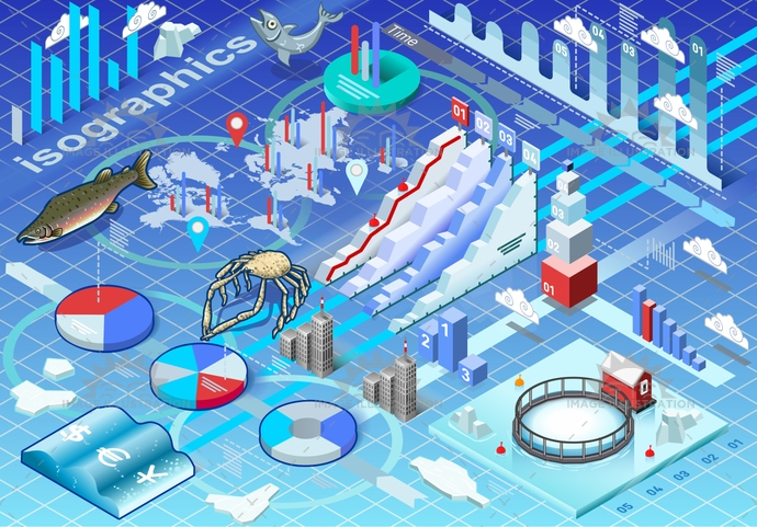 background, breeding, business, chart, cold, collection, crab, Diagram, dollar, euro, fish, fishing, graphic, ice, icon, illustration, industry, infographic, isolated, isometric, market, ocean, salmon, sea, seafood, set, trade, worldmap, yen