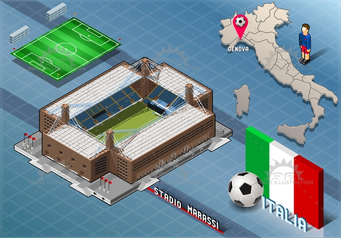 arena, background, ball, blue, building, championship, competition, europa, flag, football, genova, green, icons, infographic, isolated, isometric, italian, italy, league, liguria, map, marassi, national, player, soccer, south, stadium, tourism, world