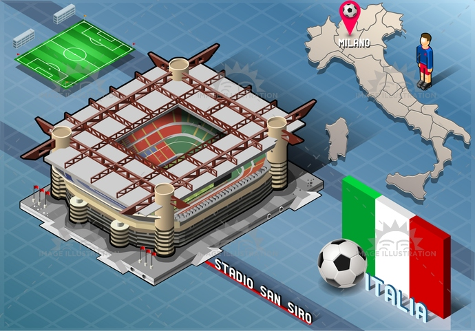 arena, background, ball, blue, building, championship, competition, europa, flag, football, green, icons, infographic, isolated, isometric, italian, italy, league, lombardia, map, milan, milano, national, player, soccer, south, stadium, tourism, world