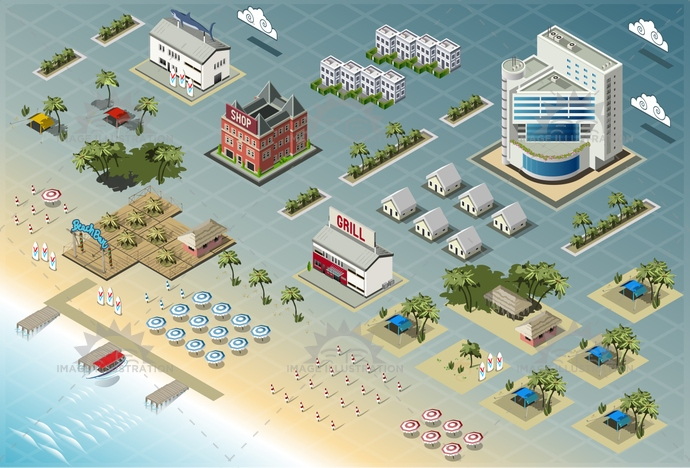 architecture, background, beach, building, business, city, cloud, coastal area, coastline, exterior, holiday, hotel, house, icon, illustration, isometric, modern, palm, resort, sand, sea, seaside, set, skyscraper, summer, tourist, town, tropical, umbrella, vector