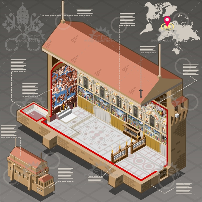 basilica, borgia, cardinal, chapel, coatofarm, conclave, cristian, cristianity, election, infographic, isometric, jesus, judgment, key, michelangelo, museum, papal, peter, pope, religion, renaissance, sistina, sistine, stateofvatican, tiara, universal, vatican