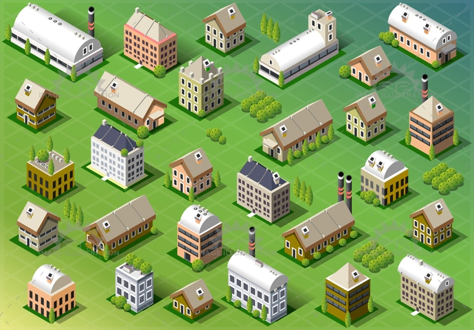 architecture, background, blue, building, buildings, business, city, cityscape, construction, design, estate, graphic, hedge, home, house, icon, icons, illustration, isometric, model, nature, office, perspective, real, set, spring, street, town, urban, vector