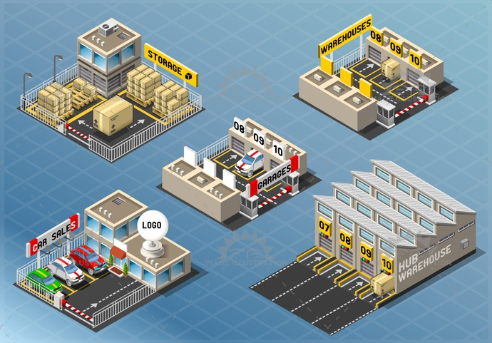 background, building, business, car, cargo, city, delivery, design, distribution, estate, garage, hub, icon, illustration, industrial, industry, isometric, logistics, logo, office, pack, salon, set, storage, store, street, town, vector, vehicle, warehouse